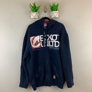 Ecko Unltd Mens Zip Up Hooded Jacket Size XXL Blue